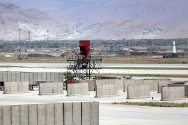 Bagram Airfield Base  in Afghanistan After All U.S. and NATO Forces Evacuated