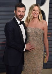 Jimmy Kimmel and Molly McNearney arrive for the Vanity Fair Oscar Party in Beverly Hills