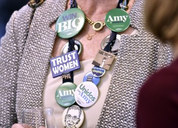 Amy Klobuchar supporters gather at New Hampshire 2020 presidential primary night event
