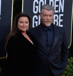 Keely Shaye Smith and Pierce Brosnan attend the 77th Golden Globe Awards in Beverly Hills