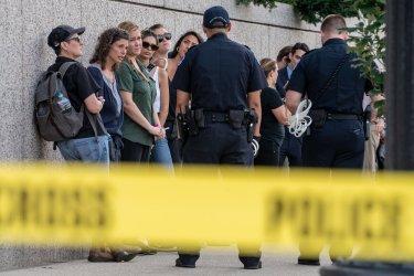 Protestors against Judge Brett Kavanaugh in Hart Senate Office Buiilding Atrium