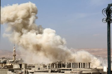 Airstrikes By Syrian Regime Air Force in Suburb of Damascus Darya