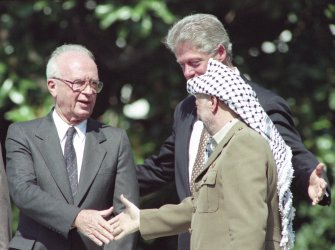 Peace Accord signing at the Clinton White House between USA, Israel and the PLO
