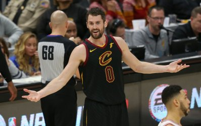 Cleveland Cavaliers Kevin Love reacts to a foul call during the second half against the Chicago Bulls