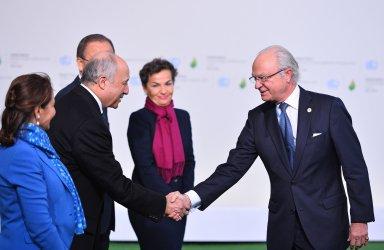 King Carl XVI Gustaf Arrives at Opening of UN Climate Summit Near Paris
