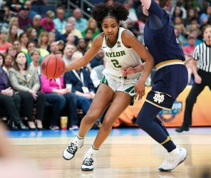 Baylor's DiDi Richards carries the ball in the NCAA Women's Basketball Championship