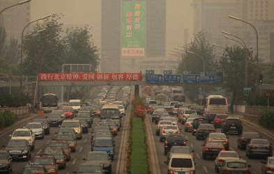 Heavy traffic and pollution in Beijing