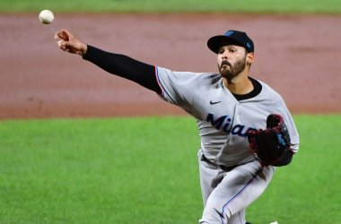 Marlins' Pablo Lopez delivers to Orioles at Camden Yards