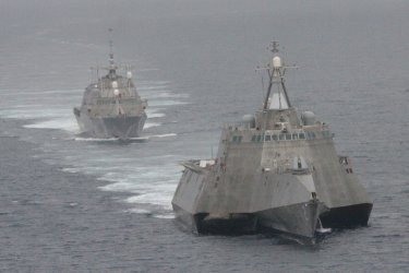Navy littoral combat ships maneuver off California coast