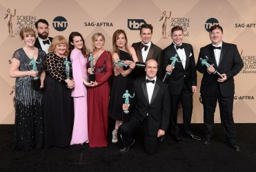 Phyllis Logan, Tom Cullen, Lesley Nicol, Sophie McShera, Joanne Froggatt, Raquel Cassidy, Kevin Doyle, Julian Ovenden, Allen Leech and Jeremy Swift win an award backstage at the 22nd annual Screen Actors Guild Awards