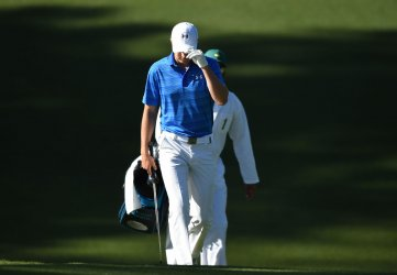 Jordan Spieth walks to the 10th green at the Masters