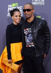 Kerry Washington and Jamie Foxx arrive at 2013 MTV Movie Awards in Culver City, California