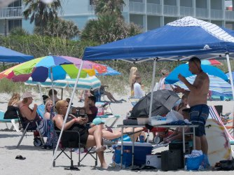 People Partake in Activities on Cocoa Beach, Florida
