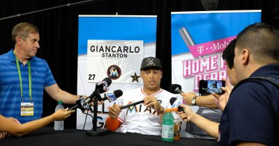 Marlins Stanton During Q&A before the 2017 MLB Home Run Derby in Miami, Florida