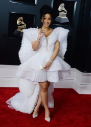 Cardi B arrives at the 60th Annual Grammy Awards in New York