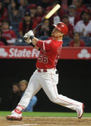 Los Angeles Angels' Kole Calhoun hits a double in the 2nd inning against the Mariners