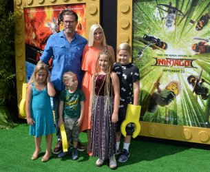"""Tori Spelling and Dean McDermott and fchildren attend """"The Lego Ninjago Movie"""" premiere in Los Angeles"""