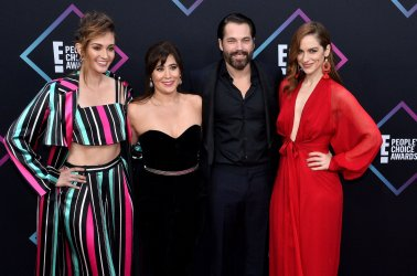 Katherine Barrell, Emily Andras, Tim Rozon and Melanie Scrofano attend the 44th annual E! People's Choice Awards in Santa Monica, California