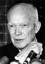 Dwight Eisenhower talking to reporters in Chicago.