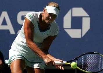 Kaia Kanepi and Vera Zvonareva play quarter final match at the U.S. Open in New York