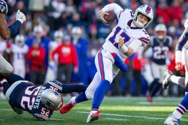 Bills Allen tackled by Patriots