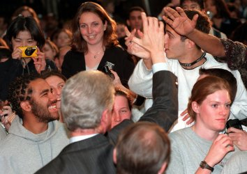 President Clinton greets AmeriCorps volunteers in College Park