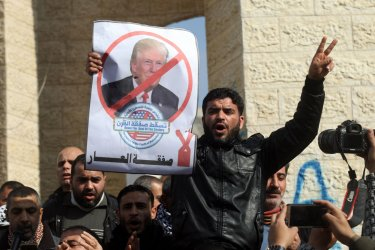 Palestinians Protest Against Expected Announcement of a Middle East Peace Plan