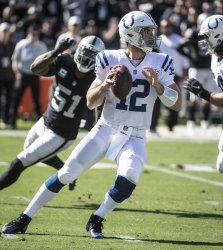 Colts Andrew Luck defeats the Raiders 42-28