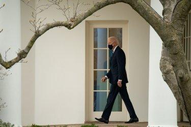 President Joe Biden Leave Oval Office at the White House