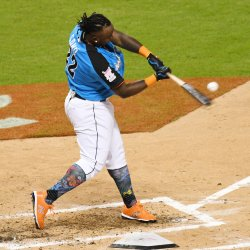 Twins Miguel Sano hits in the 2017 MLB Home Run Derby in Miami, Florida