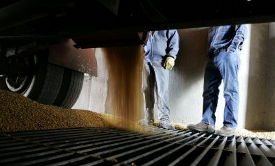 Corn harvest continues in Manteno, Illinois as commodity  prices rise sharply in futures markets