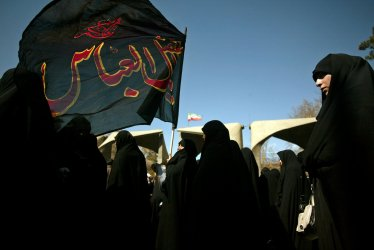 Iranians attend funeral for 5 people killed during the 8-year Iran-Iraq war
