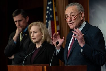 Schumer speaks at Press conference during Impeachment On Capitol Hil