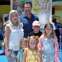 "Tori Spelling and family attend ""The Emoji Movie"" premiere in Los Angeles"