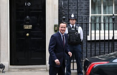 David Cameron and Samantha Cameron celebrate a majority for the Conservatives in the General Election campaign.