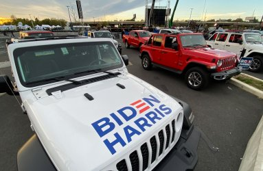 Vehicles Park for Biden Election Night Rally in Wilmington, Delaware