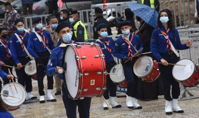 Palestinian Scouts Play Drums in Bethlehem On Christmas Eve