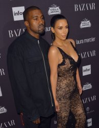 Kim Kardashian and Kanye West at Harper's BAZAAR
