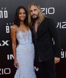 "Zoe Saldana and Marco Perego attend the ""Star Trek Beyond"" premiere in San Diego"