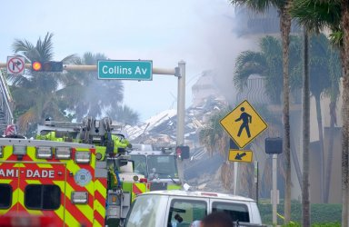 Partially Collapsed Residential Building in Surfside, Florida