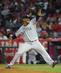 Seattle Mariners Yovani Gallardo pitches against the Angels in Anaheim