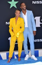 Karrueche Tran and Victor Cruz attend the 19th annual BET Awards in Los Angeles