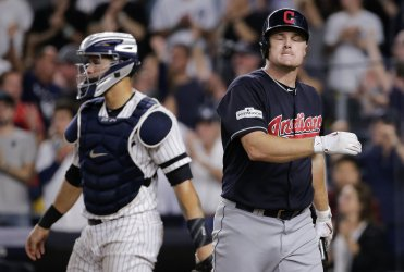 Indians Bruce reacts to stikeout against Yankees in 2017 MLB Playoffs American League Divisional Series Game 3