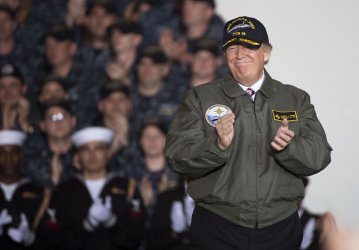 President Trump Speaks on his Defense Budget aboard the USS Gerald Ford in Newprot News, Virginia