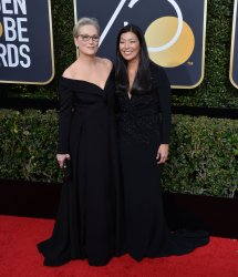 Meryl Streep and Ai-jen Poo attend the 75th annual Golden Globe Awards in Beverly Hills