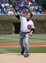 Actor Joe Mantegna throws out a ceremonial first pitch in Chicago