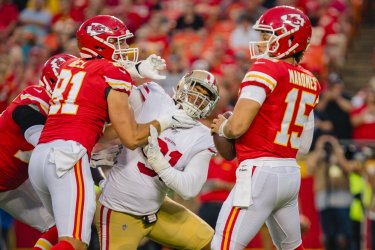 Chiefs Patrick Mahomes looks for an open reciever