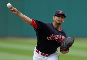 Indians Carrasco pitches in the first inning  against Yankees