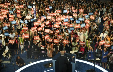 Delegates cheers remarks by Vice Pres Joe Biden at the DNC convention in Philadelphia