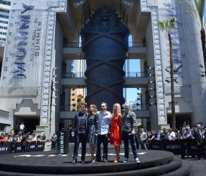 "Tom Cruise attends ""The Mummy"" photo-op with sarcophagus in Los Angeles"